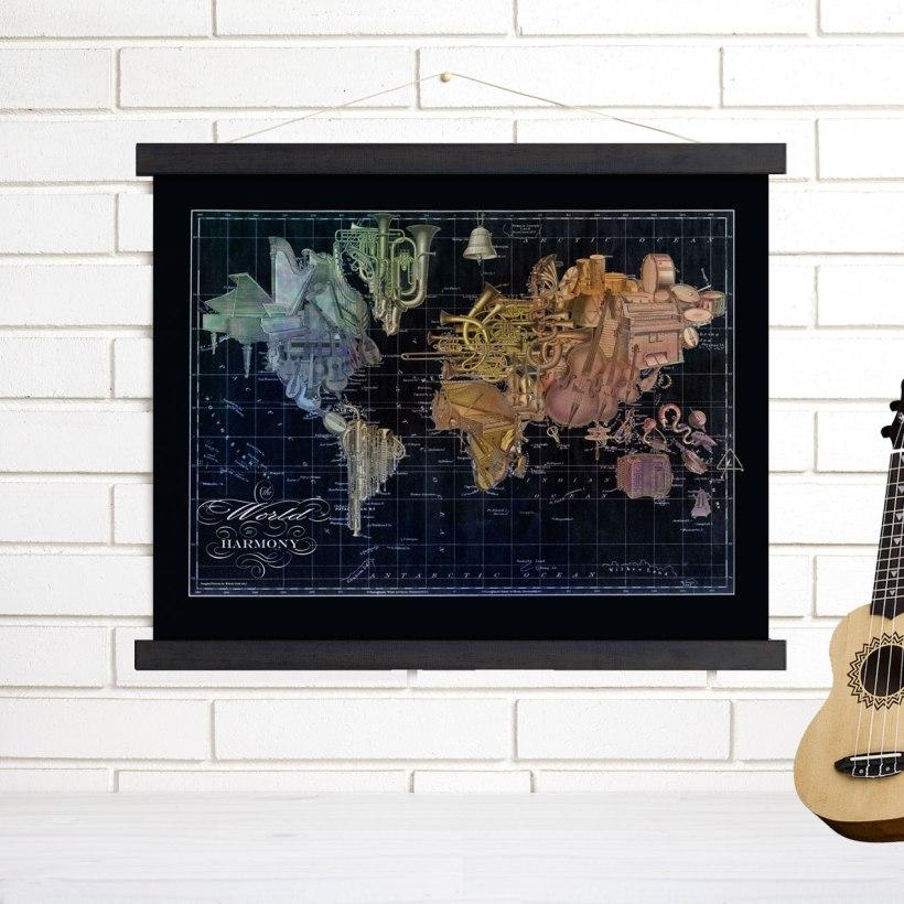 New world in harmony vintage map art the imaginenations blog darkmusiccanvas publicscrutiny Choice Image